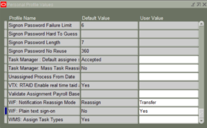 Oracle EBS Personal Profile Values Form